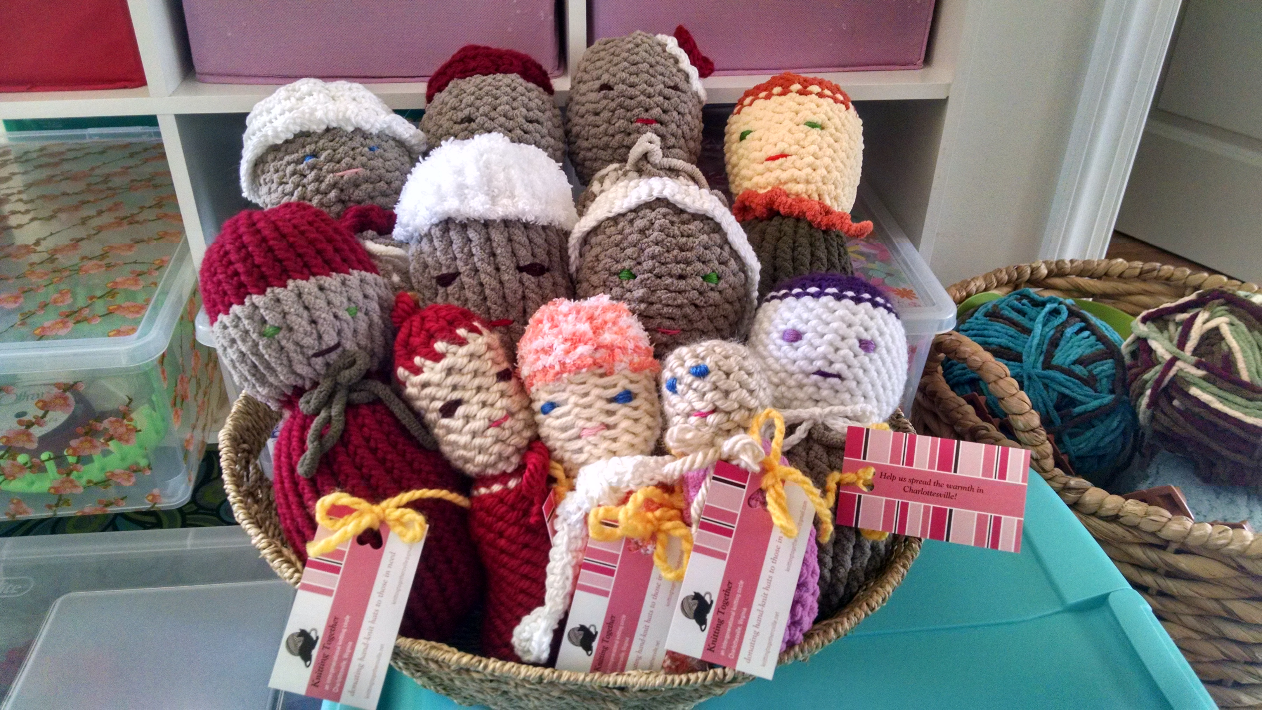 Nancys Comfort Dolls Have Hand Crocheted Hats Knitting Together